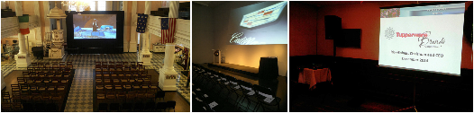 Fastfold projector screen, stage projector, stage lighting and sound rental by AV NYC
